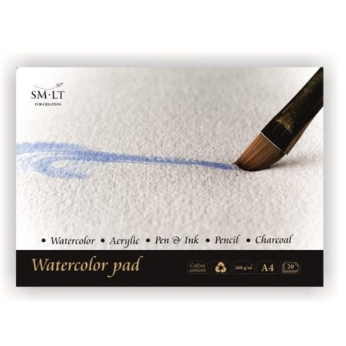 Akvarelltömb - SMLT Watercolor 260gr, 20 lapos művésztömb 30x30cm méretű